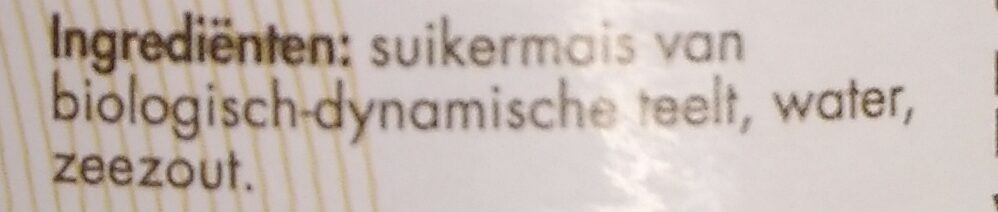 Zoete mais - Ingrediënten - nl