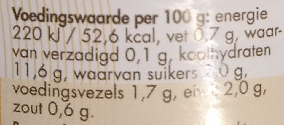 Zoete mais - Voedingswaarden - nl
