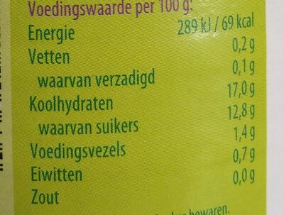 Rabarber - Informations nutritionnelles - nl