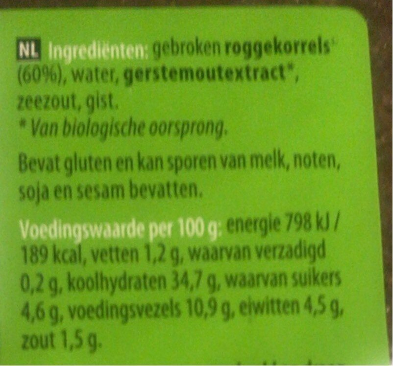 Fries roggebrood - Nutrition facts - en