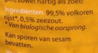 Rijstwafels met zeezout - Ingrédients - nl