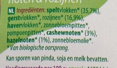 Muesli spelt noten & rozijnen - Ingredients