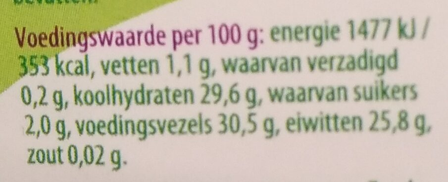 Beluga linzen - Nutrition facts - nl
