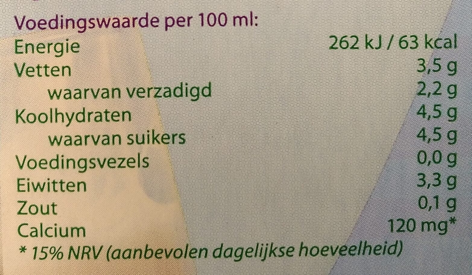 Houdbare volle melk - Nutrition facts - nl