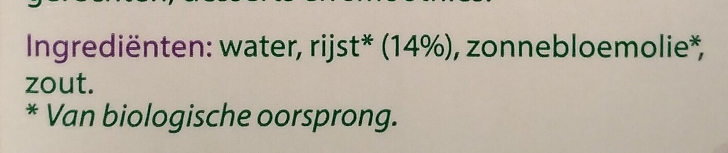 Rijstdrink naturel - Ingrediënten - nl