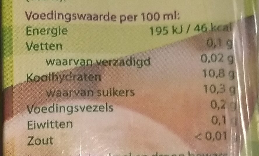 Appelsap - Nutrition facts - nl