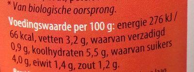 Sugo picante pastasaus - Voedigswaarden