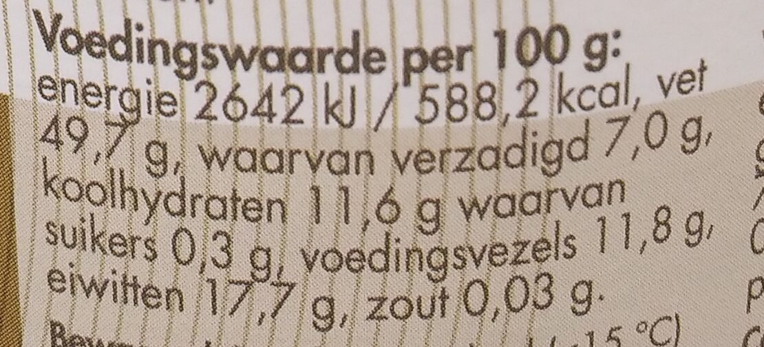 Tahin zonder zout - Valori nutrizionali - nl