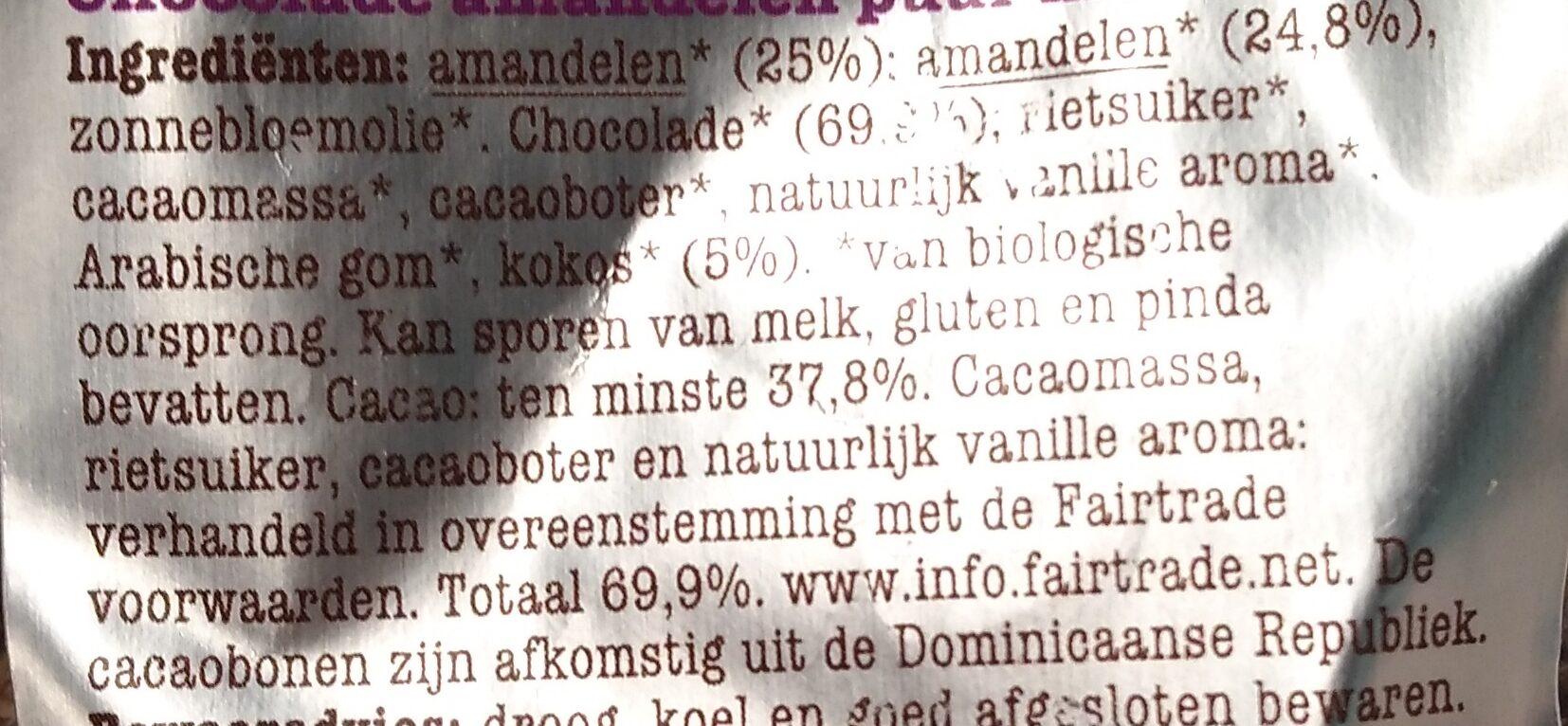 Chocolade amandelen puur met kokos - Ingrediënten - nl