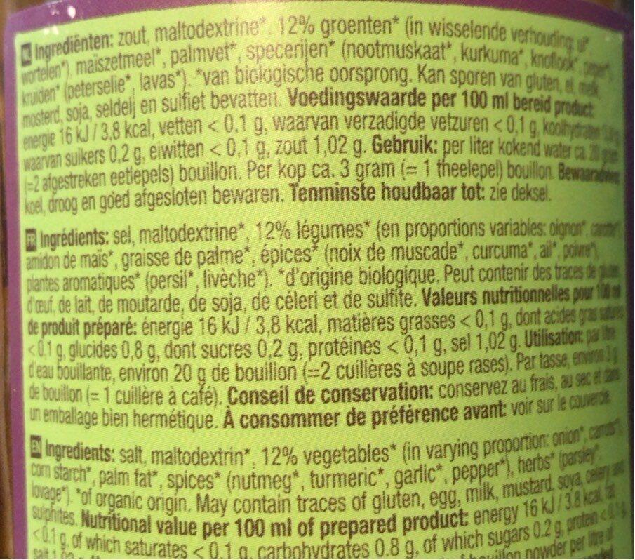 Groentebouillon - Nutrition facts - nl