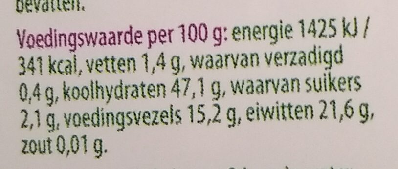 Zwarte bonen - Nutrition facts - nl