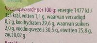 Rode linzen - Nutrition facts - nl