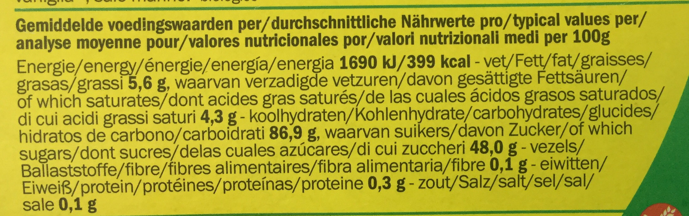 Room - Nutrition facts - nl