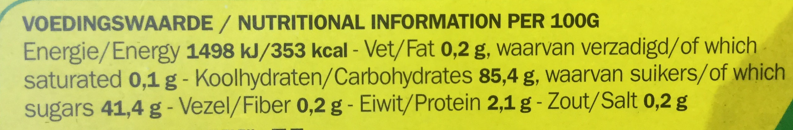 Drop - Nutrition facts