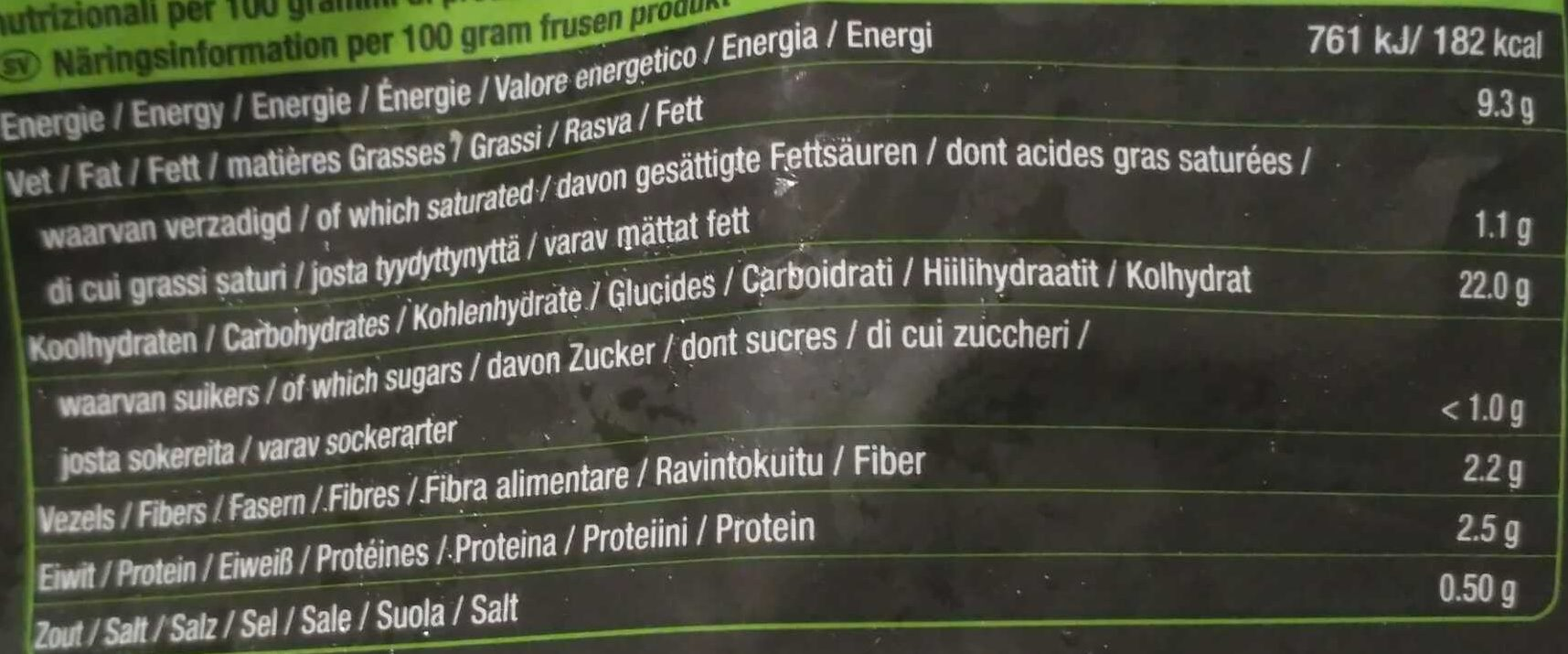 Twisted Fries Seasoned - Informations nutritionnelles