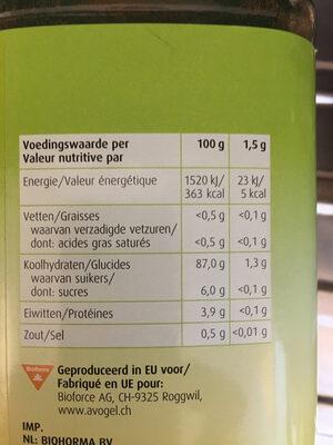 Bambu - Nutrition facts