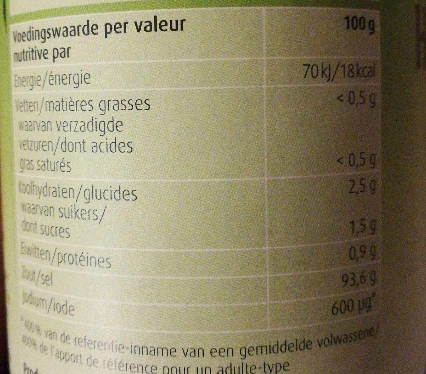 Herbamare Original Kruidenzout - Voedingswaarden
