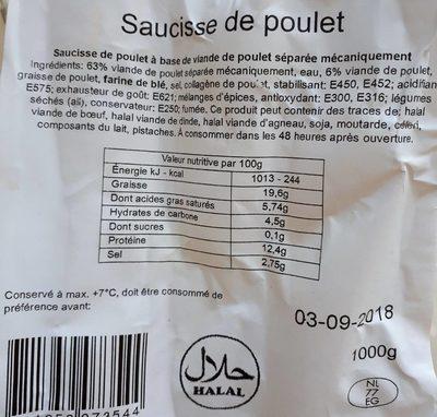 Saucisse de poulet - Product - fr