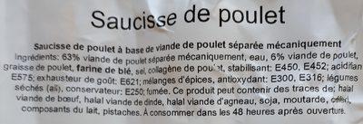 Saucisse de poulet - Ingrediënten - fr