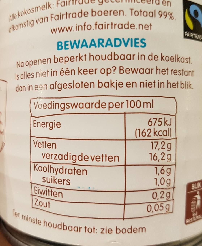Coconut Milk - Voedingswaarden