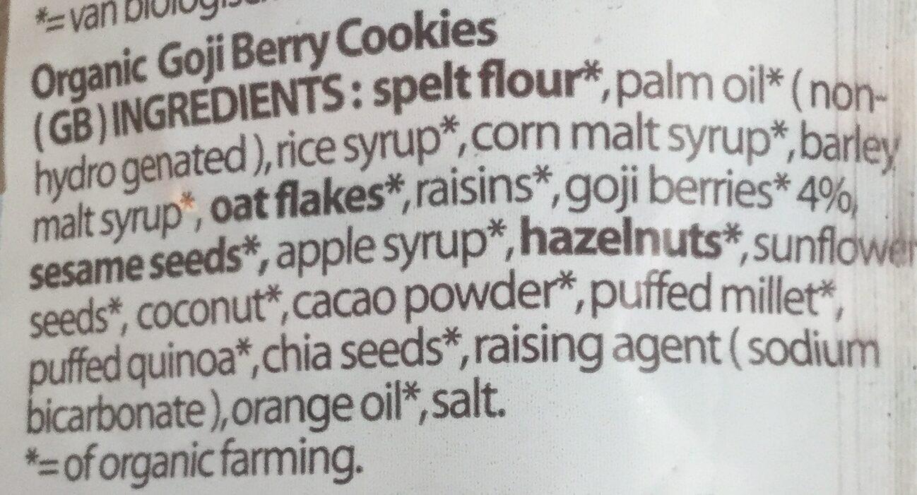Goji Berry Cookies - Nutrition facts - en