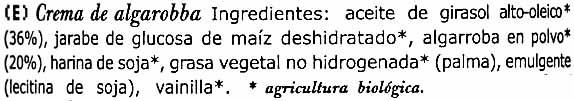 Carobella organic - Ingredientes