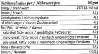 Carobella organic - Información nutricional