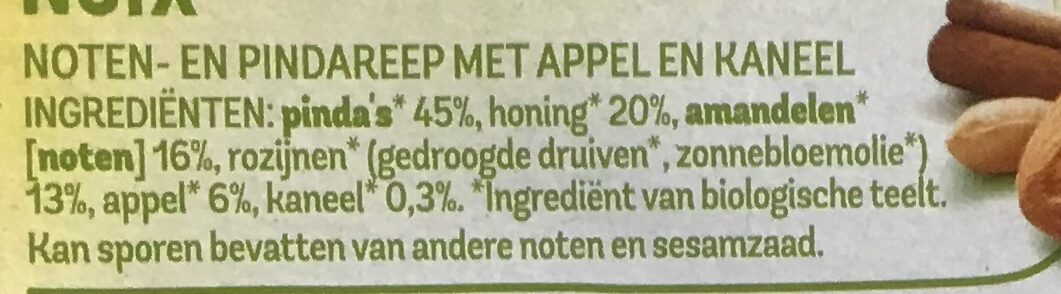 Notenreep appel kaneel - Ingredients - nl