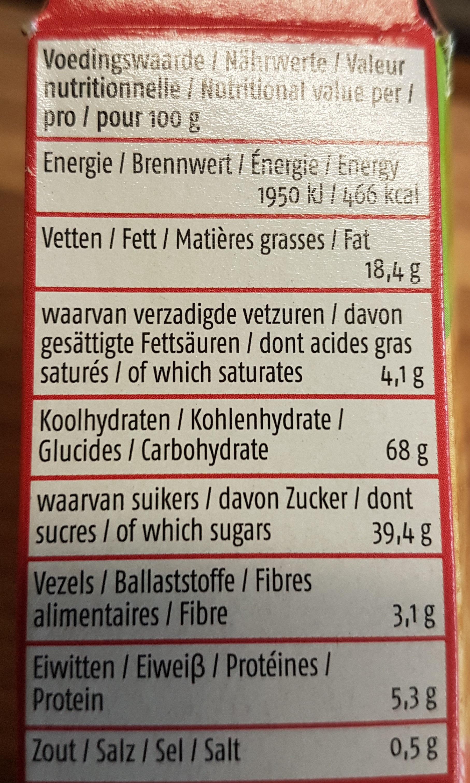 Biscuit du verger framboise - Voedingswaarden