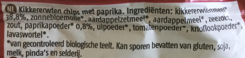 De Rit Kichererbsen Chips Paprika, 80 GR Beutel - Ingrediënten - nl