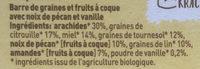 Pit & notenreep pecan vanille - Ingrédients