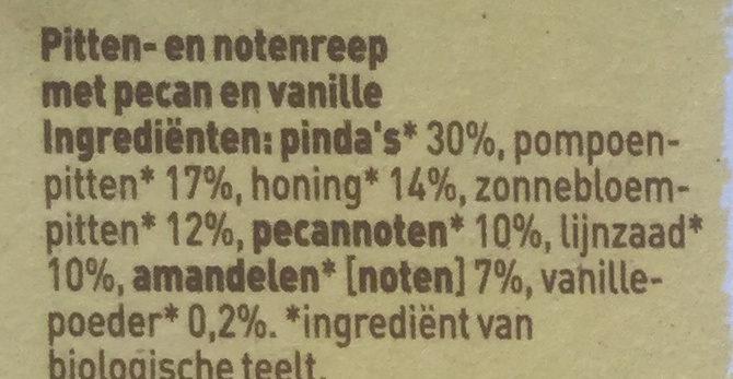 Pit & notenreep pecan vanille - Ingredients