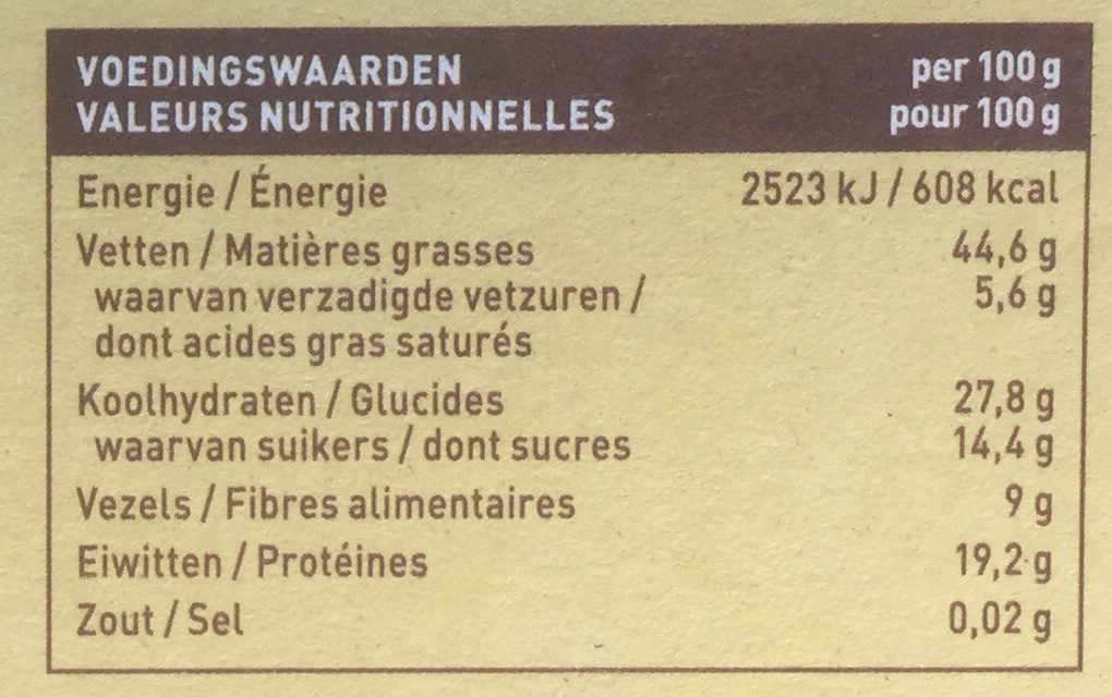 Pit & notenreep pecan vanille - Nutrition facts
