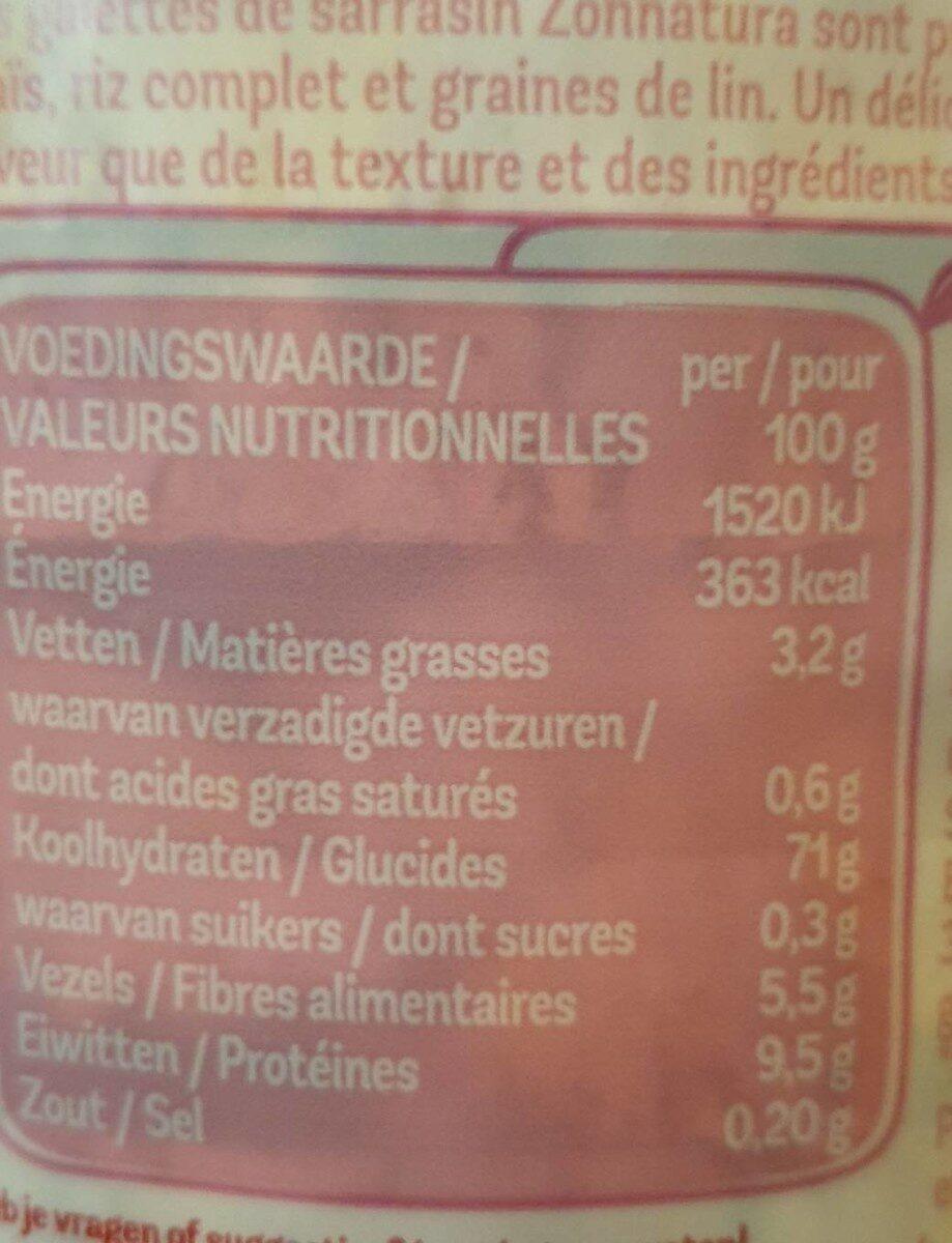 Galettes de sarrasin - Voedingswaarden