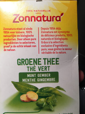 Zonnatura green thee - Informations nutritionnelles