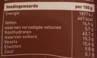 Krokante muesli pure chocolat - Voedingswaarden