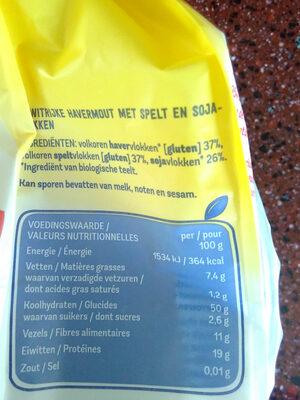 Havermout en spelt - Voedingswaarden - fr