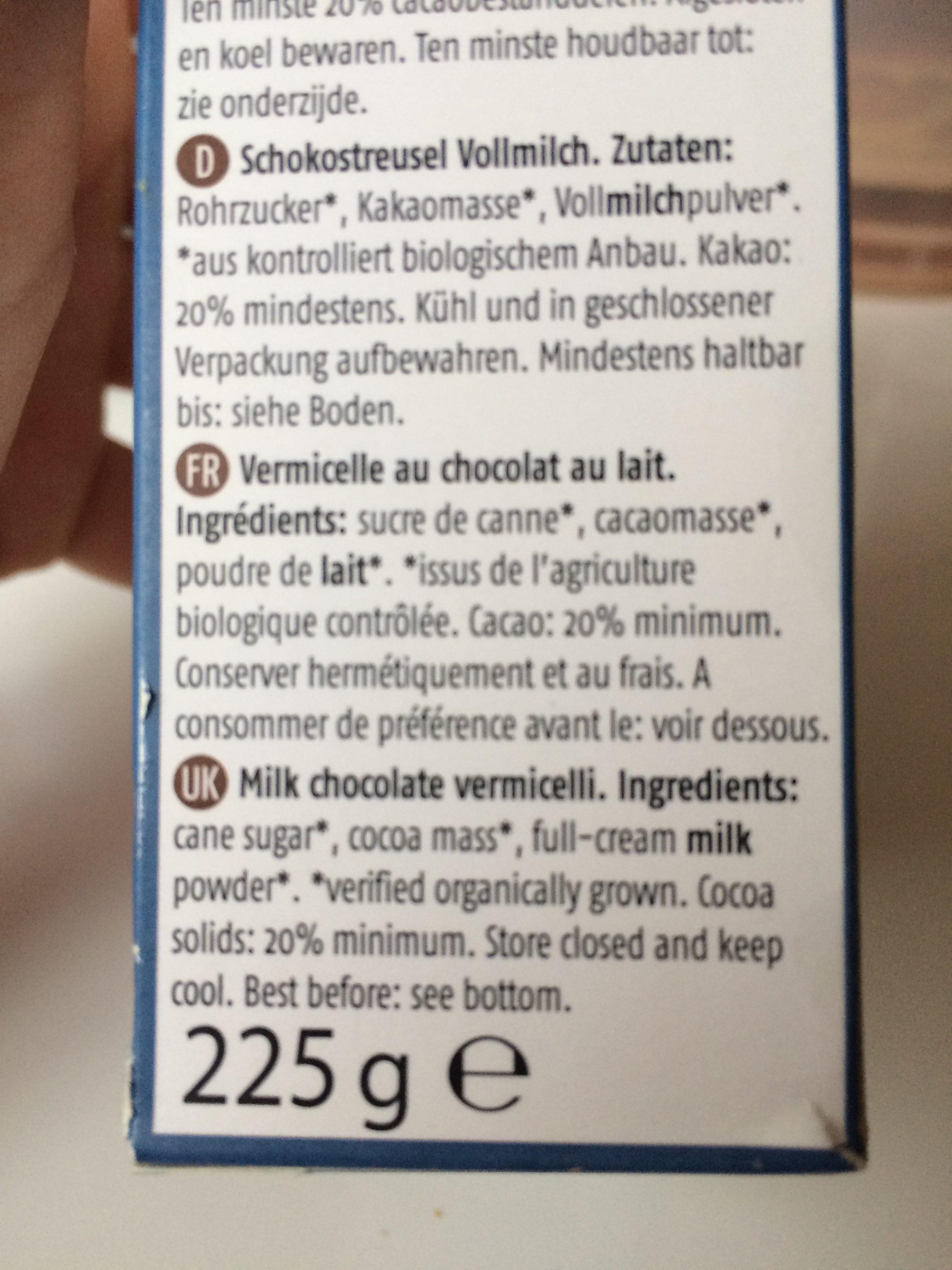 Schokostreusel, Milk Chocoreale Bio - Ingrediënten