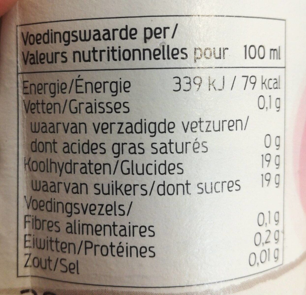 Jus de raisin rouge - Valori nutrizionali - fr