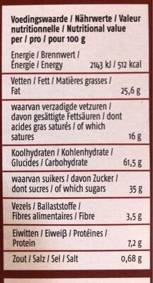 De Rit Tours de chocolat - Nutrition facts - nl