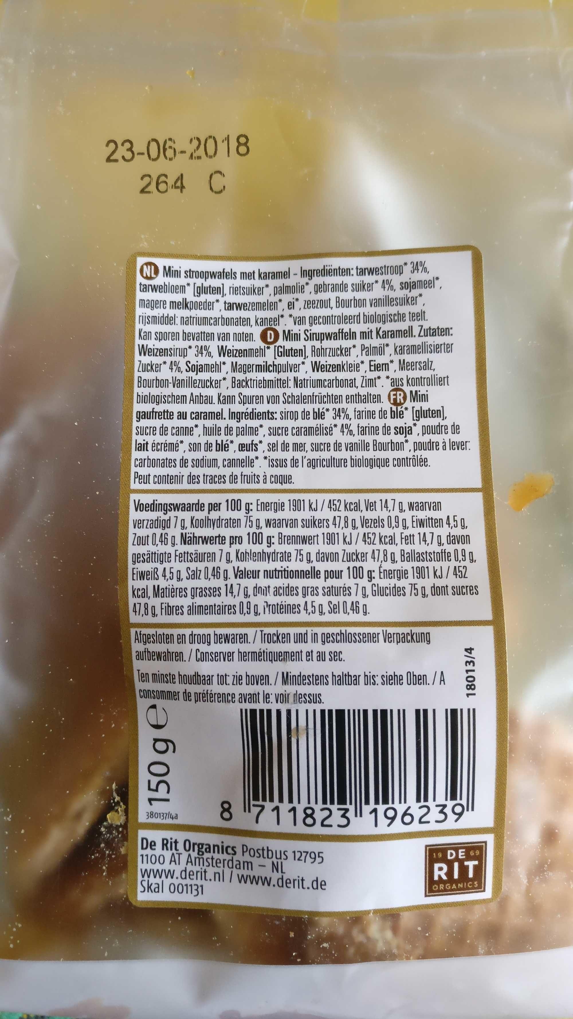 Mini Gaufrettes Au Caramel Bio - 150G - De Rit - Ingredients - fr