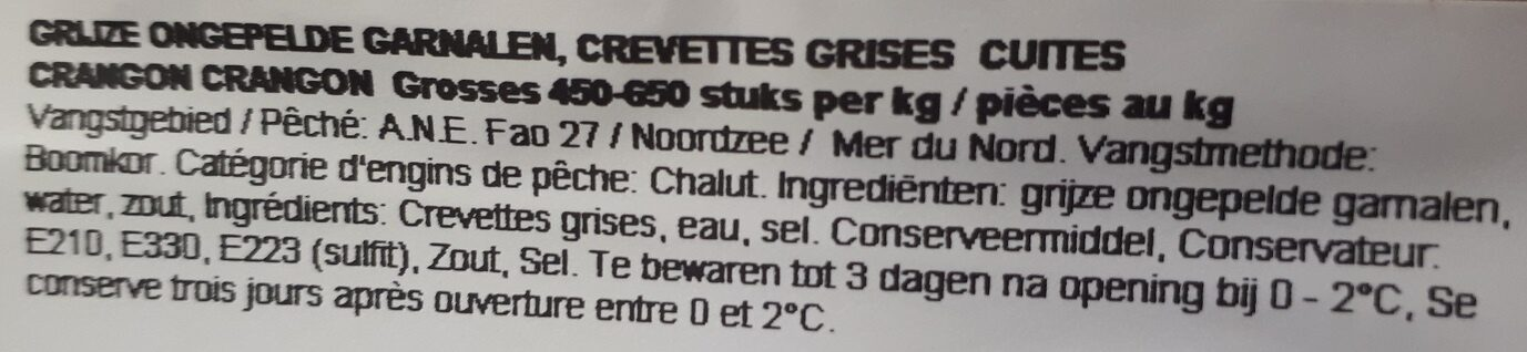 Crevettes grises - Ingrédients - fr