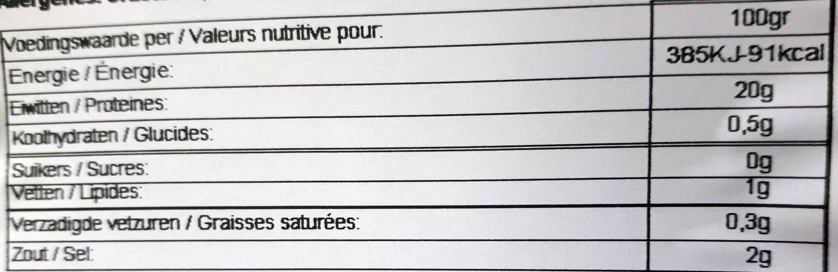 Crevettes grises - Informations nutritionnelles - fr