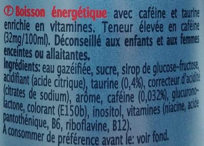 Regular Energy Drink taurine - Ingredients - fr