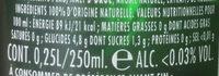 Bière sans Alcool - Informations nutritionnelles - fr