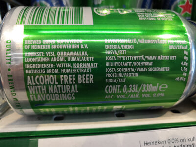 Heineken alcohol-free beer 0.0 - Nutrition facts