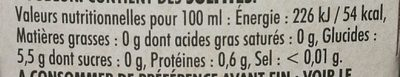 Biere - Nutrition facts - fr