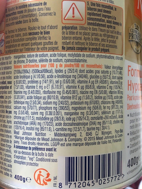 Nutramigen 1 LGG Poudre 400G - Informations nutritionnelles - fr