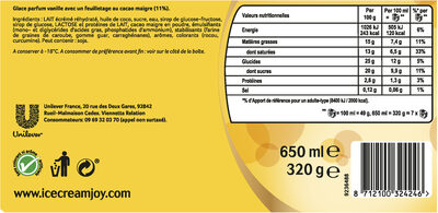 Viennetta Dessert Glace Vanille Cacao Craquant 7 parts 650ml - Informations nutritionnelles