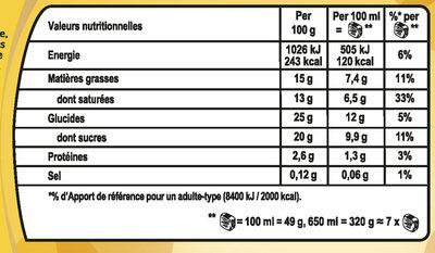 Viennetta Dessert Glacé Parfum Vanille Cacao Craquant 7 parts 650ml - Nutrition facts - fr